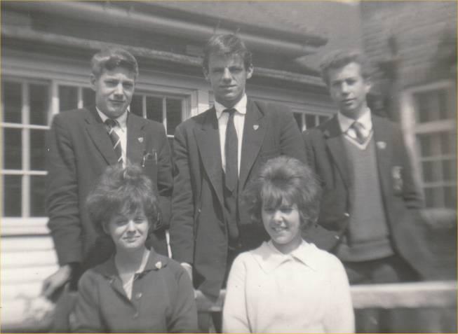 Back from left.  Arthur Abbott, Graham Godward, Gregory Pead (Head Boy). Front from left Sheila Spooner and Pamela Patrick. | Nina Humphrey(née Burton)