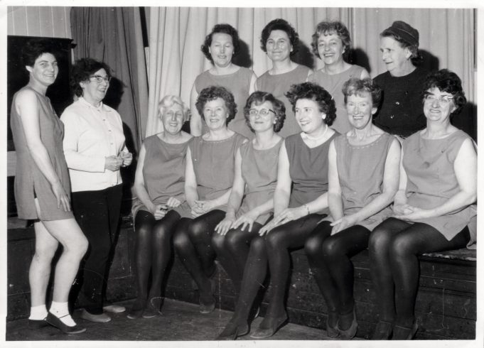 The Hut Club, Samuel Road. Keep Fit, 1968.  Edith Dutnall, front row, 2nd from left | Judith Howgego (née Dutnall)