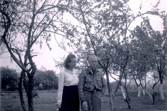 Annie & William Short amongst the fruit trees in the garden of Artillery View | Sylvie Currington nee Short