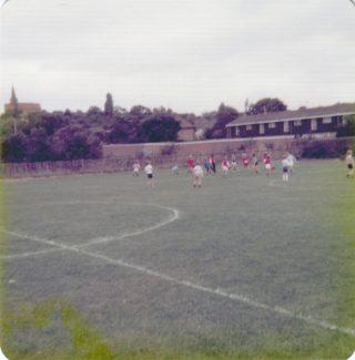 Chowdhary school playing field approx. 1976. St Nicholas Church in the background. | Nina Humphrey (nee Burton)