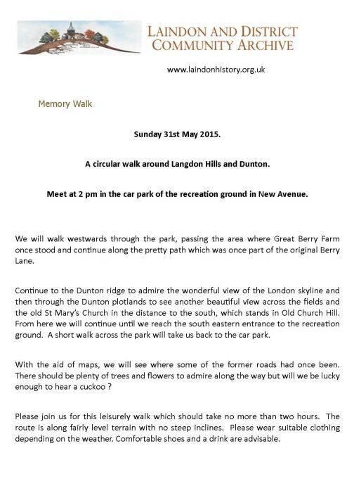 Memory Walk - Sunday 31st May 2015