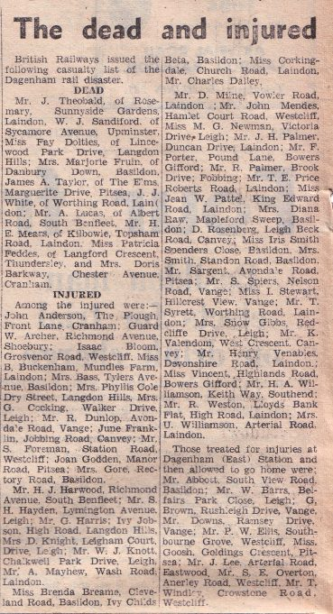Rail crash report in the Laindon Recorder 1958.