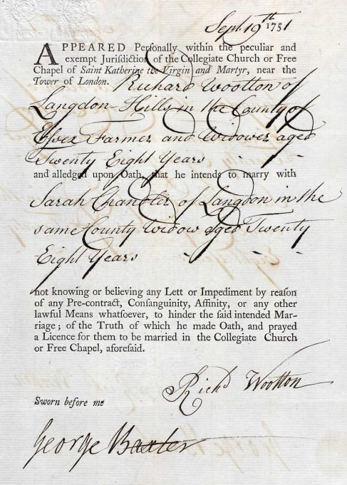 The marriage bond of Richard Wootton. | Ancestry.com