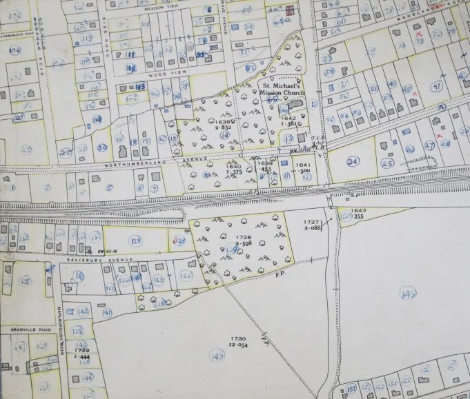 Basildon Development Corporation property survey map showing Salisbury Avenue as it would have been in 1949 (Added by the editor) | Ordnance Survey and BDC