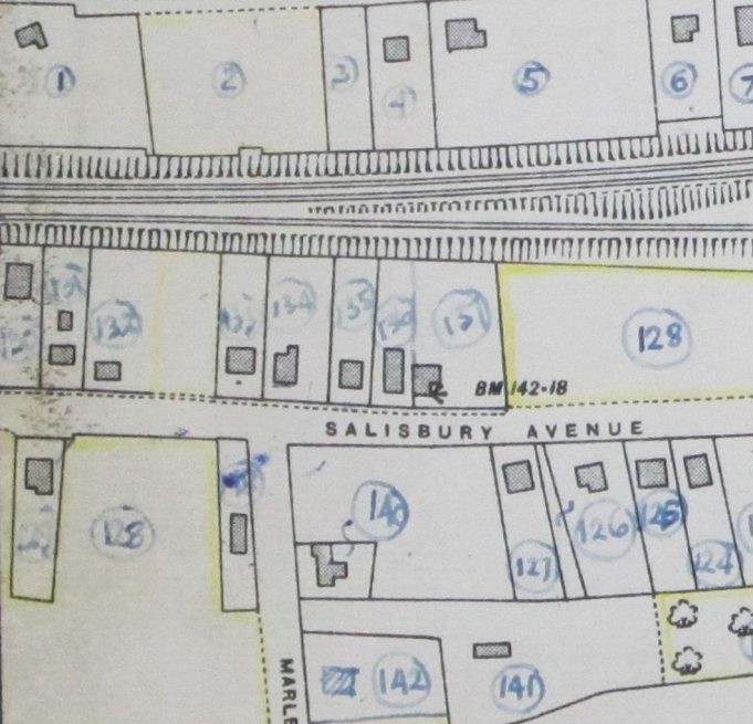 Enlargement  of the map above showing the location of 'Benenden' (No 135) and the Church Hall (No 136) (Added by the editor) | Ordnance Survey and BDC