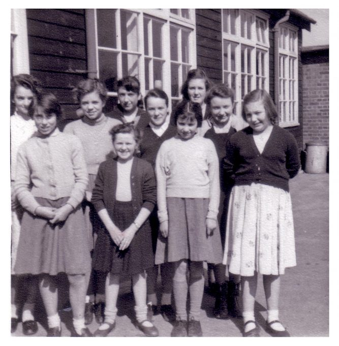 Laindon High Road School mid fifties.  Front row from left.  Stephanie Bannister, Jill Adams, Zelda Koppit, Shirley Smart.  Back row from left.  Yvonne Heather, Joyce Smith, ??, Jean Barnes, Catherine Hicks, Sonia Sutton. | Jill Barnes (née Adams)