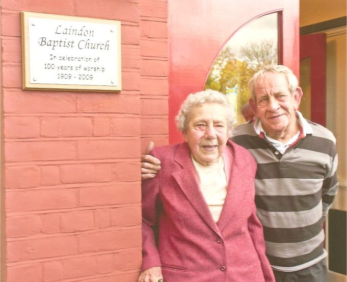 Hilda Kiddell and her brother Brian at the Centenary of the Laindon Baptist Fellowship in 2009