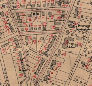 The suggested location of Lyndhurst and Sissinghurst | From Ordinance Survey map of 1937