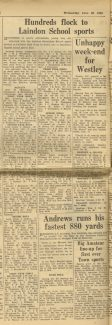 LHR School Sports Day Results 1961 | Times & Recorder