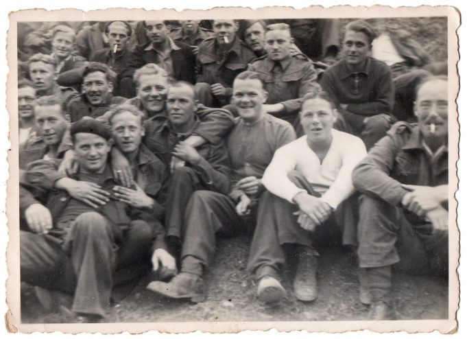 St. Hyppolyte, France 1941.  Richard far left, 2nd row, just behind the man in the berit. | John Devine