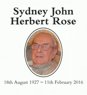 Sydney John Herbert Rose 1927 - 2016 | Patsy Mott