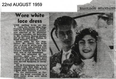 Greek Girl Wed at Laindon 22nd August 1959.
