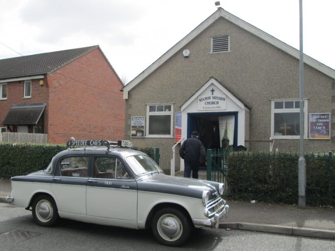Peter Sloper's Hillman Minx outside the Manor Mission. | Colin Humphrey