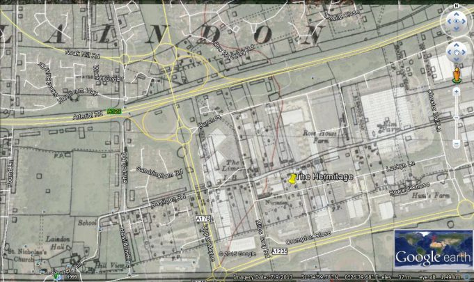 Map showing the location of The Hermitage superimposed on Google Earth. | Ordance Survey and Google Earth.