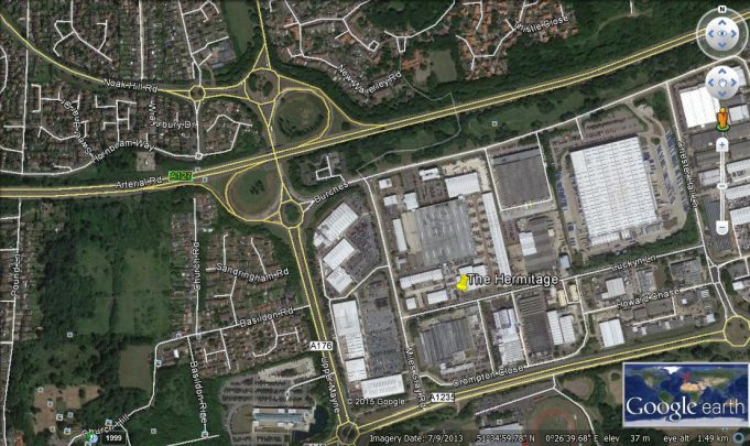 Screen shot from Google Earth showing the area where the eastern part of Basildon Road used to be. | Google Earth.
