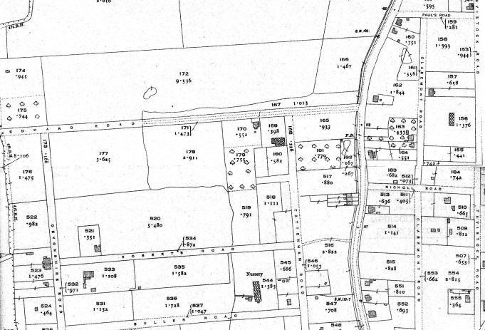 White House Farm, King Edward Road, Laindon. 170 is the house. 169 the greenhouses. 179. The Orchard. Unsure if 177 or 178 was part of it at any time. | Ordance Survey Office