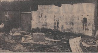 The scene of desolation above is of the remains of the small factory at the rear of Mr. Dodd's bungalow on the Arterial Road at Laindon.    The place was set afire and burned to the ground without the knowledge of Mr. Dodd.