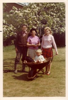 Transport of a different kind 1973.  My mum and dad, George and Jessica Burton. Me with my son Mark in the garden of Spion Kop with Ian and Patsy Mott's son's house in Bourne Avenue just visible in the background.