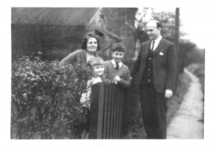 Outside 'Benenden'.  Hazel and Trevor Savage with their father Cecil and their grandmother Nell Waters.