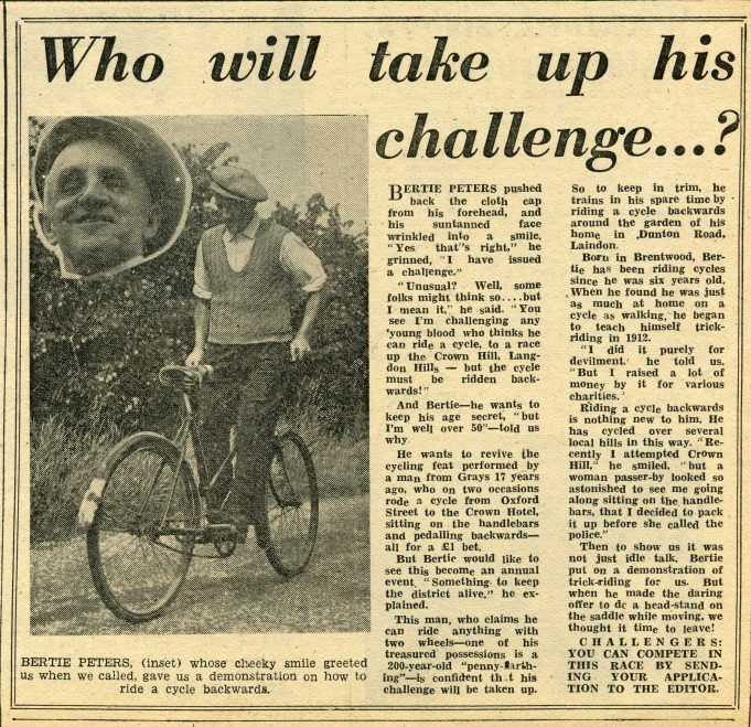 Bertie Peters and the Backwards Bicycle Races | Billericay Times 1952