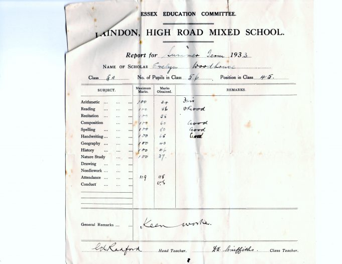 Early School Reports 1930s