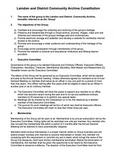 Laindon and District Community Archive Constitution