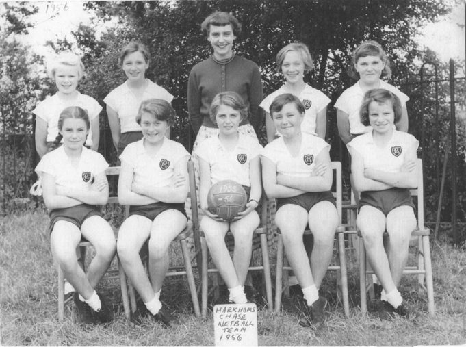 Patsy as a member of Markhams Chase School netball team 1956