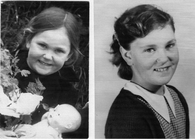 Patsy at Markhams Chase School. Aged 5 in 1950 (left). and aged 10 in 1955 (right)
