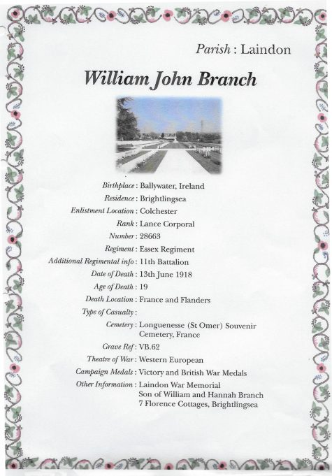 William John Branch - WW1 Casualty