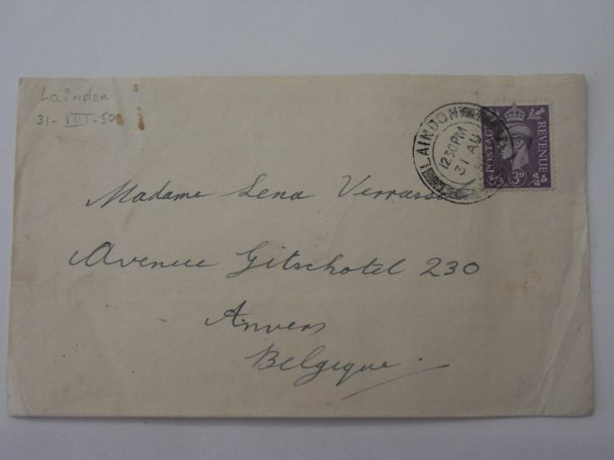Frontside of the same envelope, sent from Laindon on AUG 31,  1950