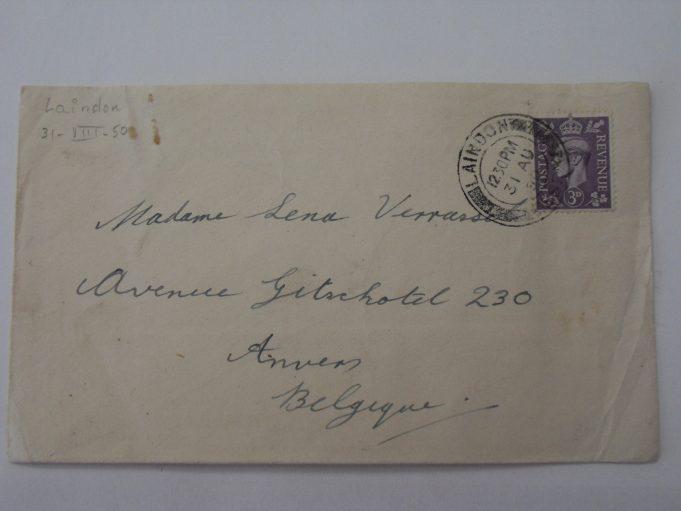 Frontside of the same envelope, sent from Laindon on AUG 31,  1950