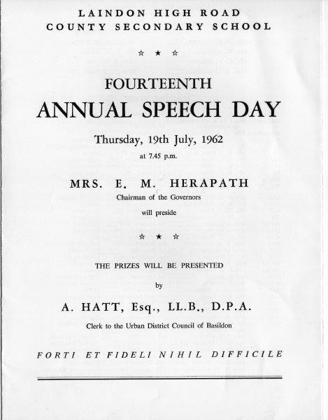 LHRS Speech Day 1962.
