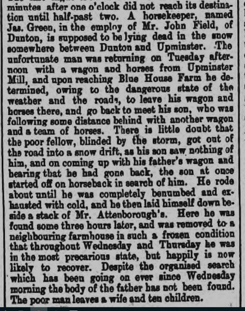Joseph Green, Jobbing Gardener and the tragic death of his father on Black Tuesday 18th January 1881.