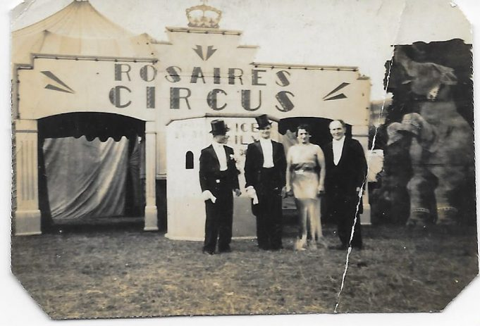 The entrance to the  Rosaires Circus big top