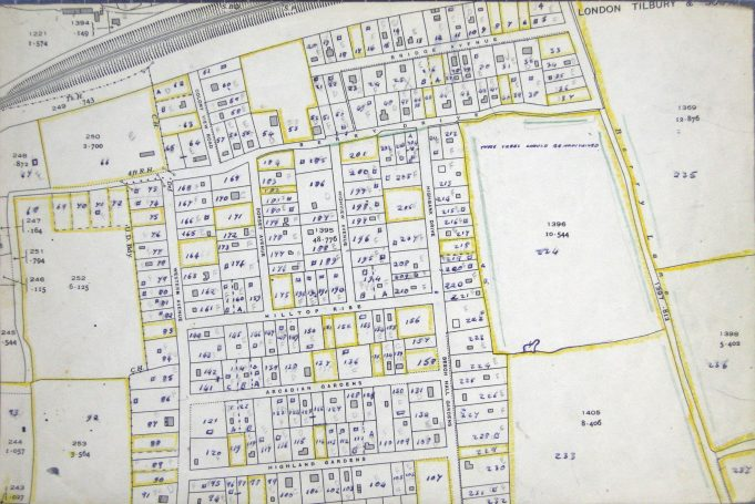 Basildon Development Corporation's 1949 survey.  'Birchlea' is plot No 12 – top of picture and to right of centre The survey describes 'Birchlea' as a weekend residence, made from timber and asbestos tiles.  In fair condition on a well-kept plot.