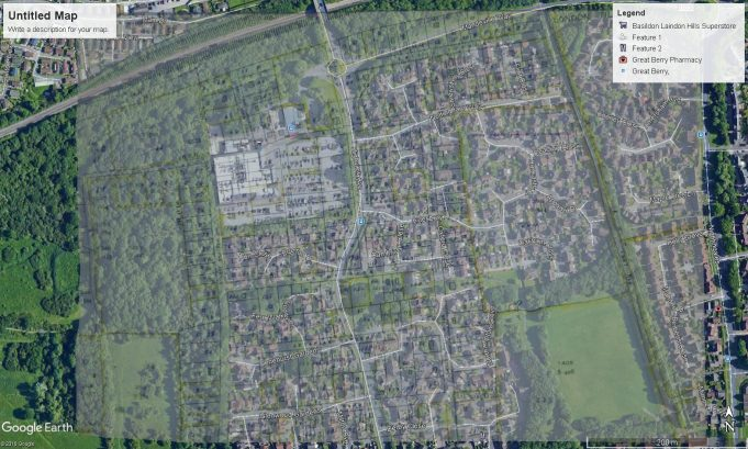 Overlap map showing Mandeville Way now running through the plot where 'Birchlea' once stood.