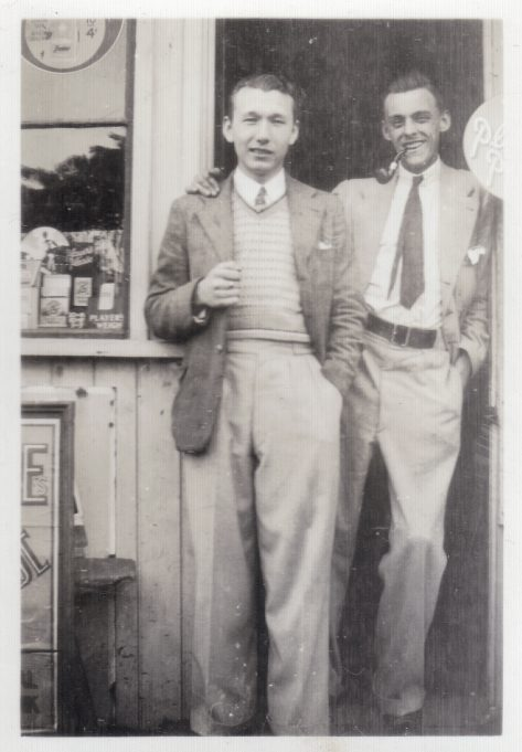 Frank Hayes on the left with unknown man.