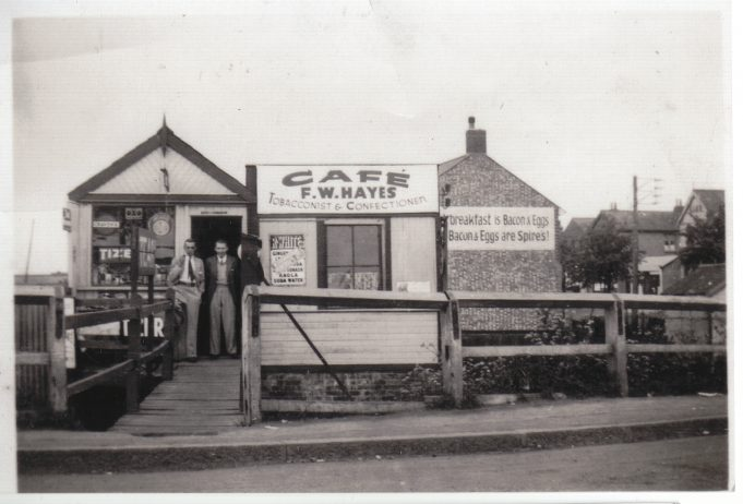 The building in 1936,  now F. W. Hayes' Cafe.