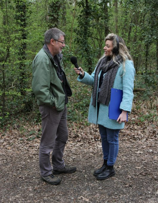 Glenn Jacobs of Basildon Natural History Society being interviewd by Vicky Carter from BBC Essex. | Colin Humphrey