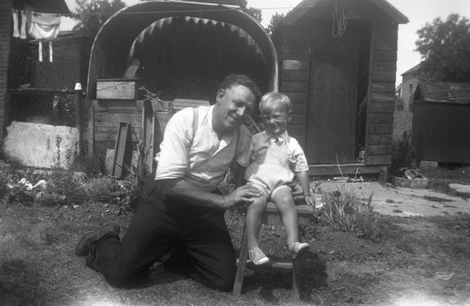 Me with my grandfather George Hunt, (the shed to the right of me was the toilet!)