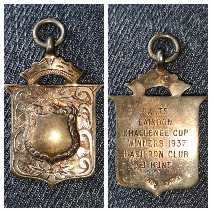 The darts medal won by my father in the Laindon Challenge Cup in 1937.