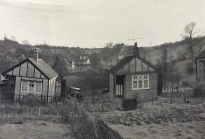 Photo taken from the garden of 'Hawthorns', looking towards The Crown Hotel, at the top of Crown Hill. 1958.