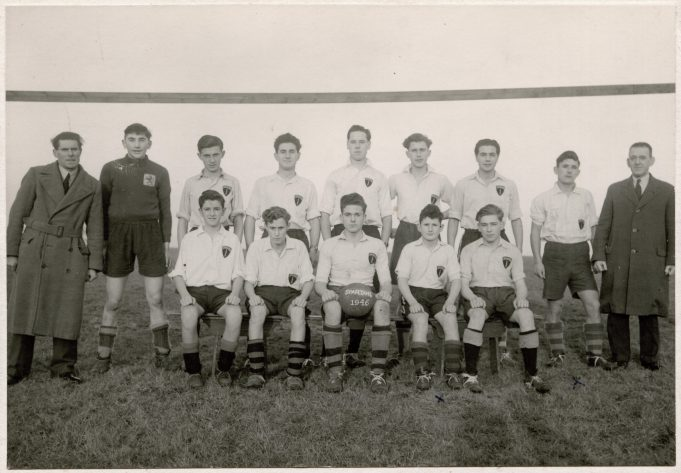 Back row left to right.  Frank Bedwell (Trainer).  Arthur Dunlop (Goalkeeper).  Bob Rasmussen.  Roy Bedwell.  Bert French.  Ken Theobald.  Bob ?  Ernest Thurwood.  Harry French (Trainer). Front row left to right.  Bill Bedwell.  Leslie Shepard.  John Roots (Captain).  Ted Thurwood.  Roy Wise.