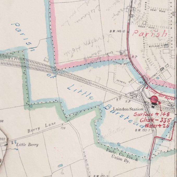 Section of map showing the hot water pipe