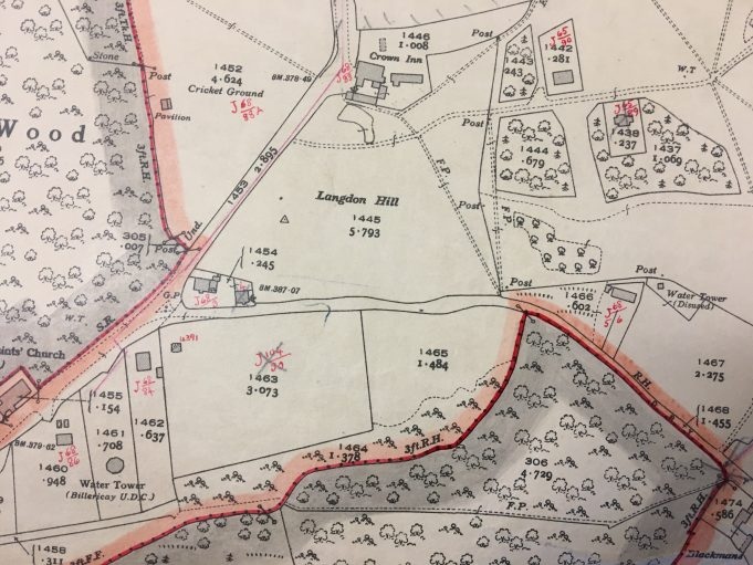 The map clearly shows the position of the current Water Tower and where the earlier one was.