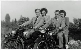 My Mum and Dad at Ferndale, Topsham Road on the Triumph and their friends Ted & Stella from Hainault circa 1950