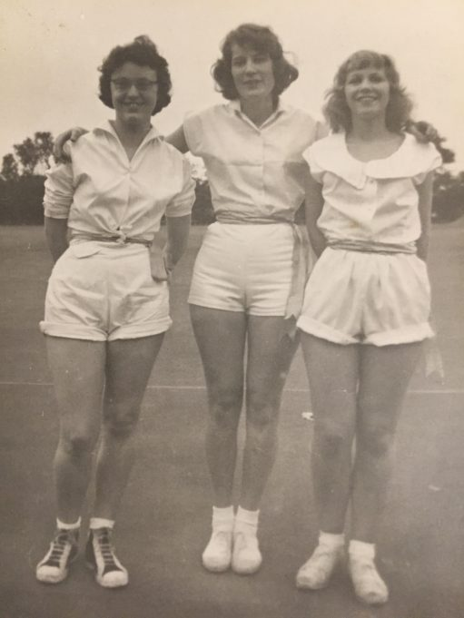 Netball at Youth Centre Laindon High Road School Daphne Austin, Evelyn Lewis and Shirley Wood.
