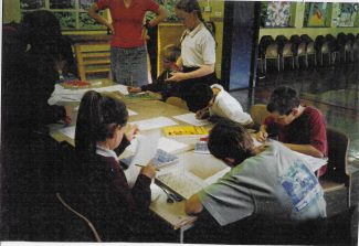 Children working on the design