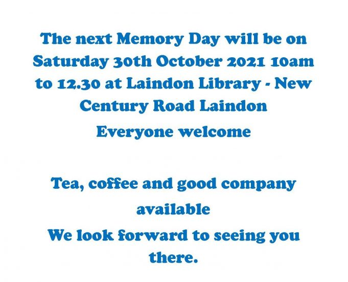 Our Next Memory Day is on 30th October 2021